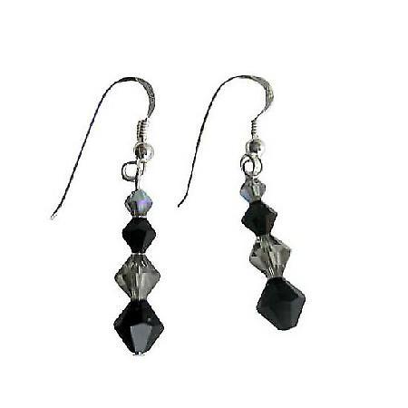 Black Diamond Jet Swarovski Bicone Crystals Sterling Silver Earrings