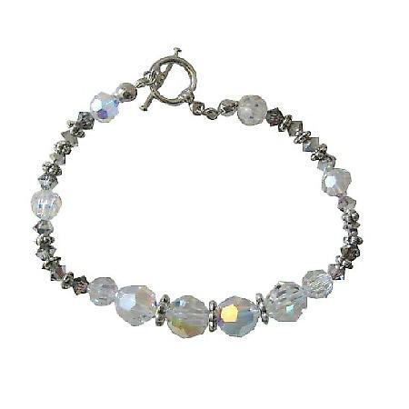 AB Swarovski Crystal Bracelet w/ Volcano & Bali Silver Beads Toggle Clasp Bracelet Genuine Swarovski Crystal Bracelets