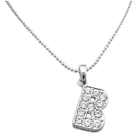 Letter Alphabet Pendant Necklace Letter B Fully Embedded Cubic Zircon
