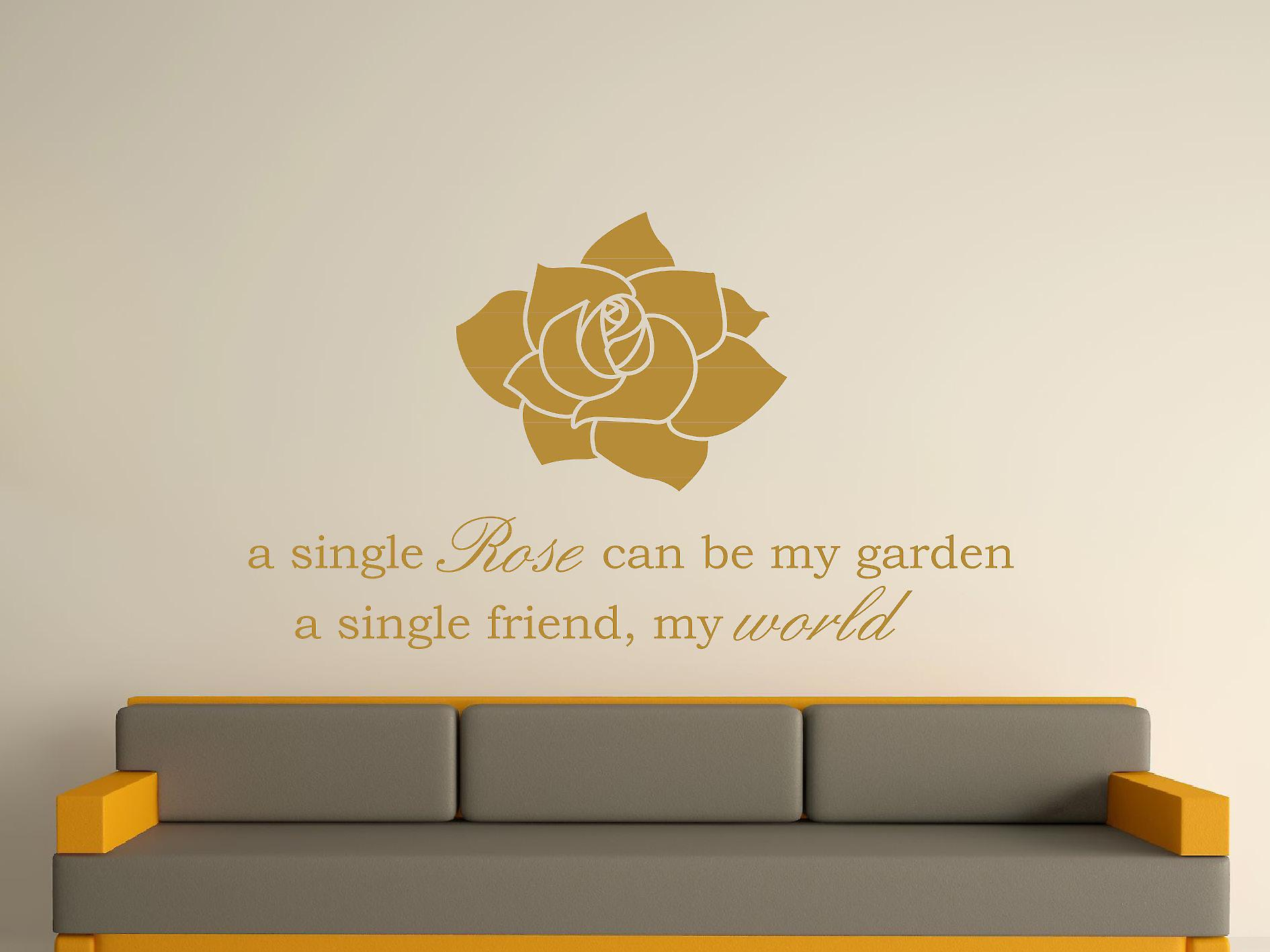 A Single Rose Wall Art Sticker - Gold