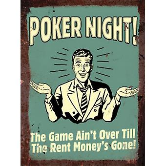 Vintage Metal Wall Sign - Poker night!