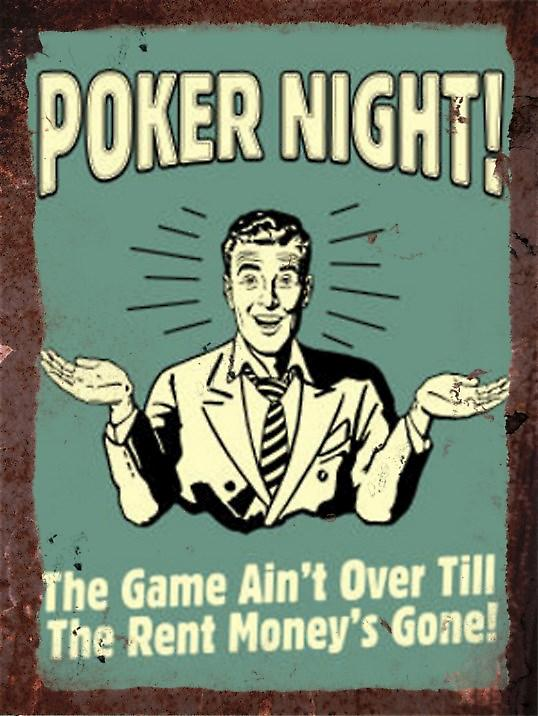 Vintage Metal Wall Sign - Poker night!