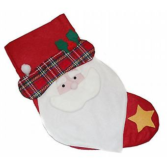 48cm Felt Christmas Stocking Santa Decoration Holly Star And Tartan Pack of 20 (WSL630504)