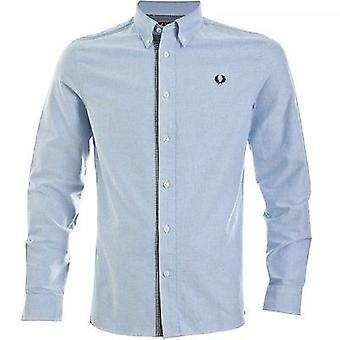 Fred Perry Men's Gingham Trim Oxford Long Sleeve Shirt M8270-146