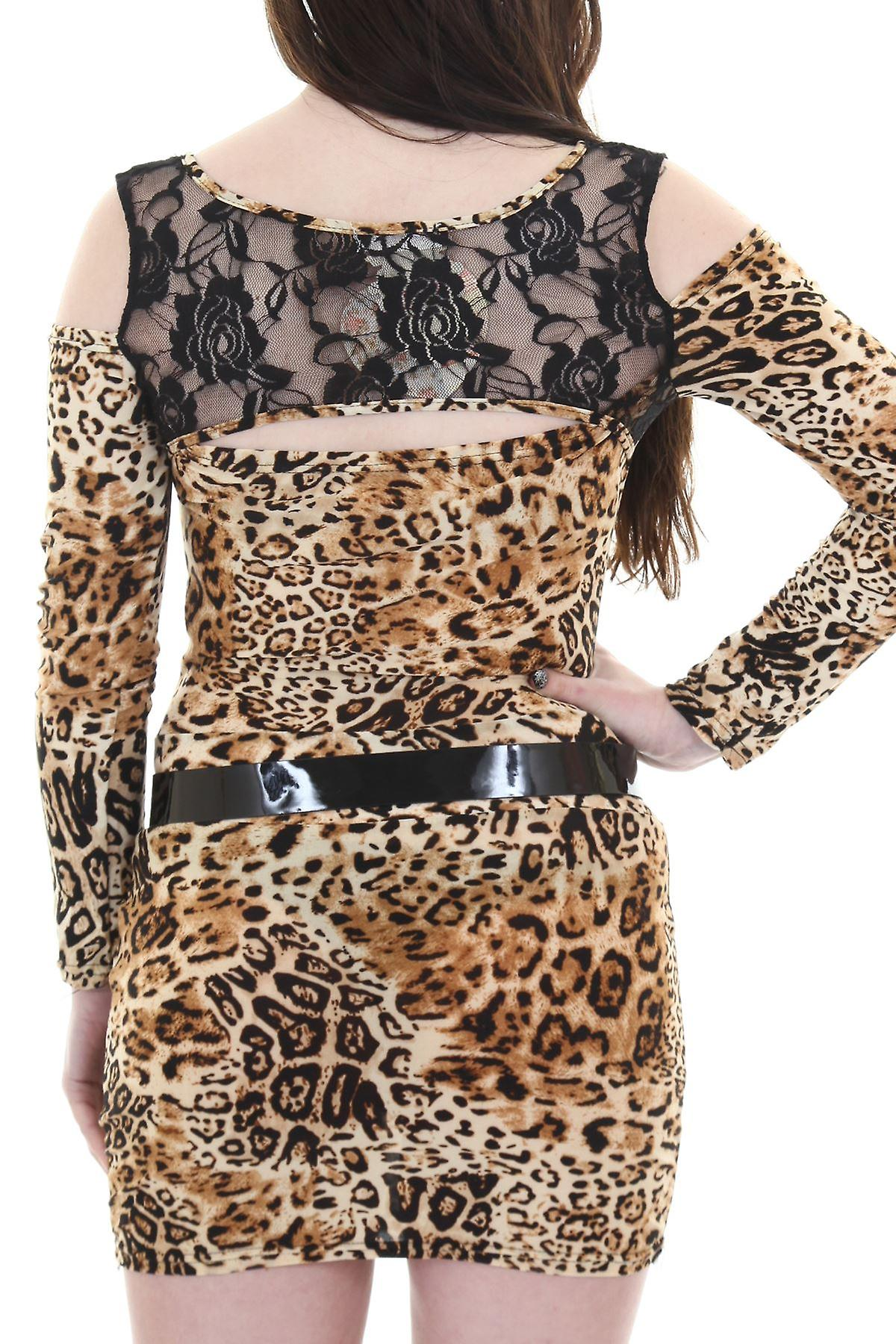 Ladies Long Sleeve Off Shoulder Lace Zip Front Leopard Belted Bodycon Dress