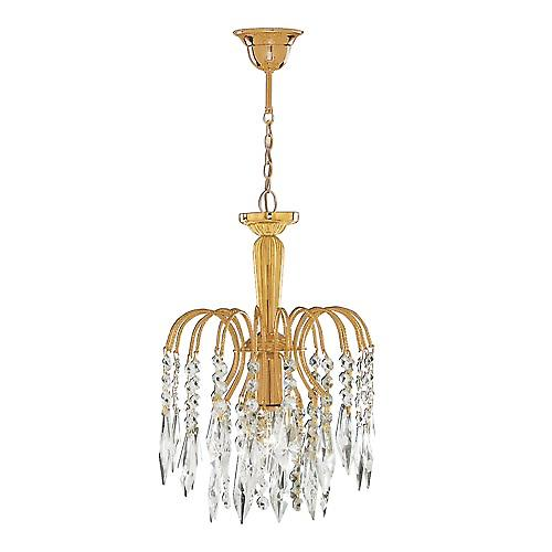 Searchlight 6271-1 Waterfall Single Light Pendant Gold Plated Crystal Trimming