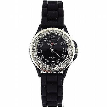 Prince London Crystal Embedded Bezel Black Dial Ladies Sports Watch PL27073SBLK