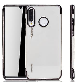Handyhülle für Huawei P30 Lite Schwarz - Clear - TPU Silikon Case Backcover Schutzhülle in Transparent / glänzender Rand Schwarz