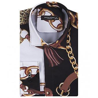 Oscar Banks Belt And Chains Print Long Sleeve Mens Shirt