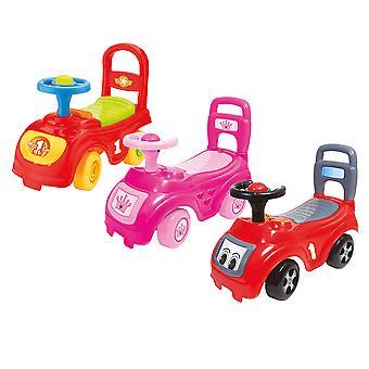 Charles Bentley Kid's Dolu Sit 'N' Ride Push Along Car Seat Storage in Pink / Red / Multicoloured - 12+ Months
