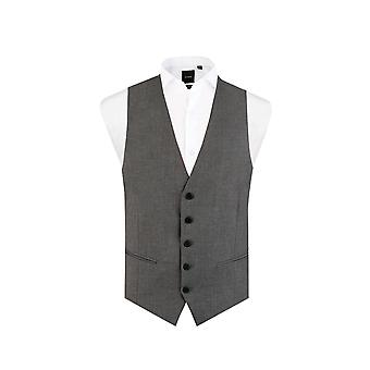 Dobell Mens Light Grey Waistcoat Slim Fit 5 Button Travel/Performance