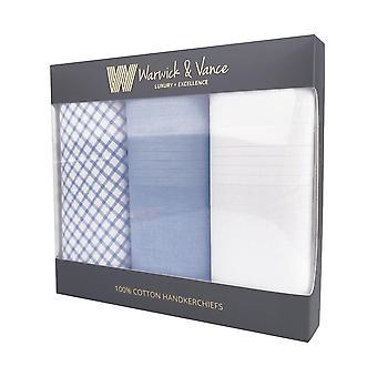 3 Pack Herre/gentlemens lommetørklæder bomuld check og farvet satin hem gave boxed