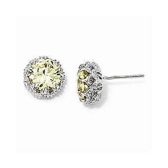 925 Sterling Silver Rhodium-plated Round Canary Cubic Zirconia Post Earrings