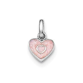 925 Sterling Silver Rh placcato per ragazzi o ragazze rosa glitterato smalto cuore ciondolo - .8 Grams