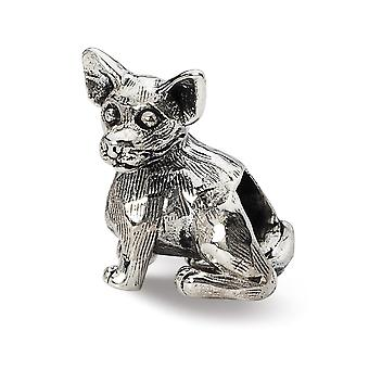 925 Sterling Silver Polished Antique finish Reflections Chihuahua Bead Charm