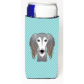 Checkerboard Blue Saluki Ultra Beverage Insulators for slim cans BB1167MUK