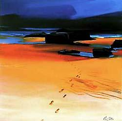 Pam Carter print - Footsteps and Orange Sands, Montrose Bay