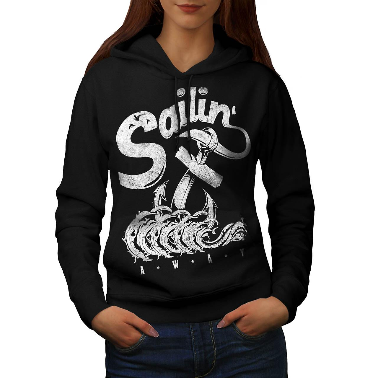 Sailing Away Sea Song Anchor Eye Women Black Hoodie | Wellcoda