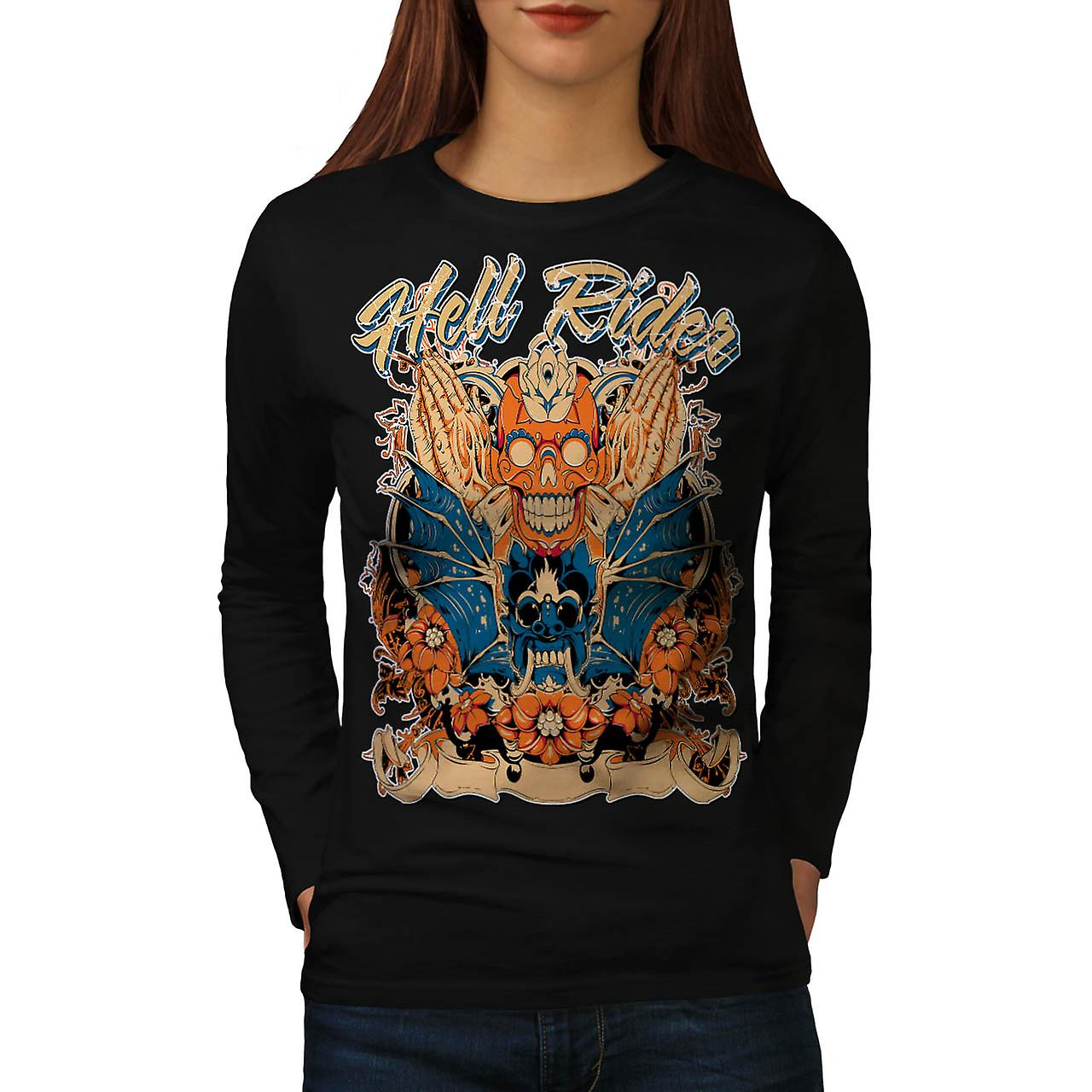 Hell Rider Rose Biker Women Black Long Sleeve T-shirt | Wellcoda