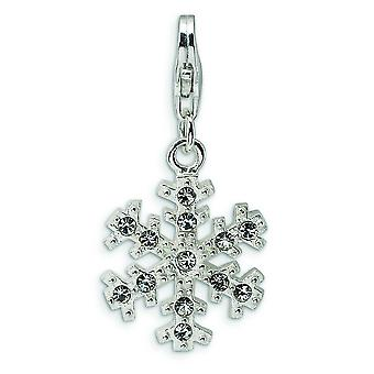 Sterling Silver Glass Stone Snowflake With Lobster Clasp Charm - Measures 29x15mm