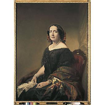 Madrazo Federico Gertrudis Gmez De Avellaneda 1857 olja på duk Spanien Madrid Lzaro Galdiano Foundation AisaEverett samling affisch Skriv
