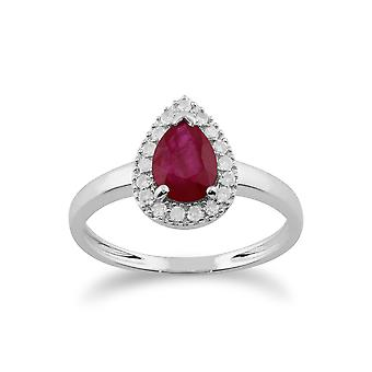 Gemondo 9ct White Gold 0.80ct Ruby & Diamond Pear Cluster Ring
