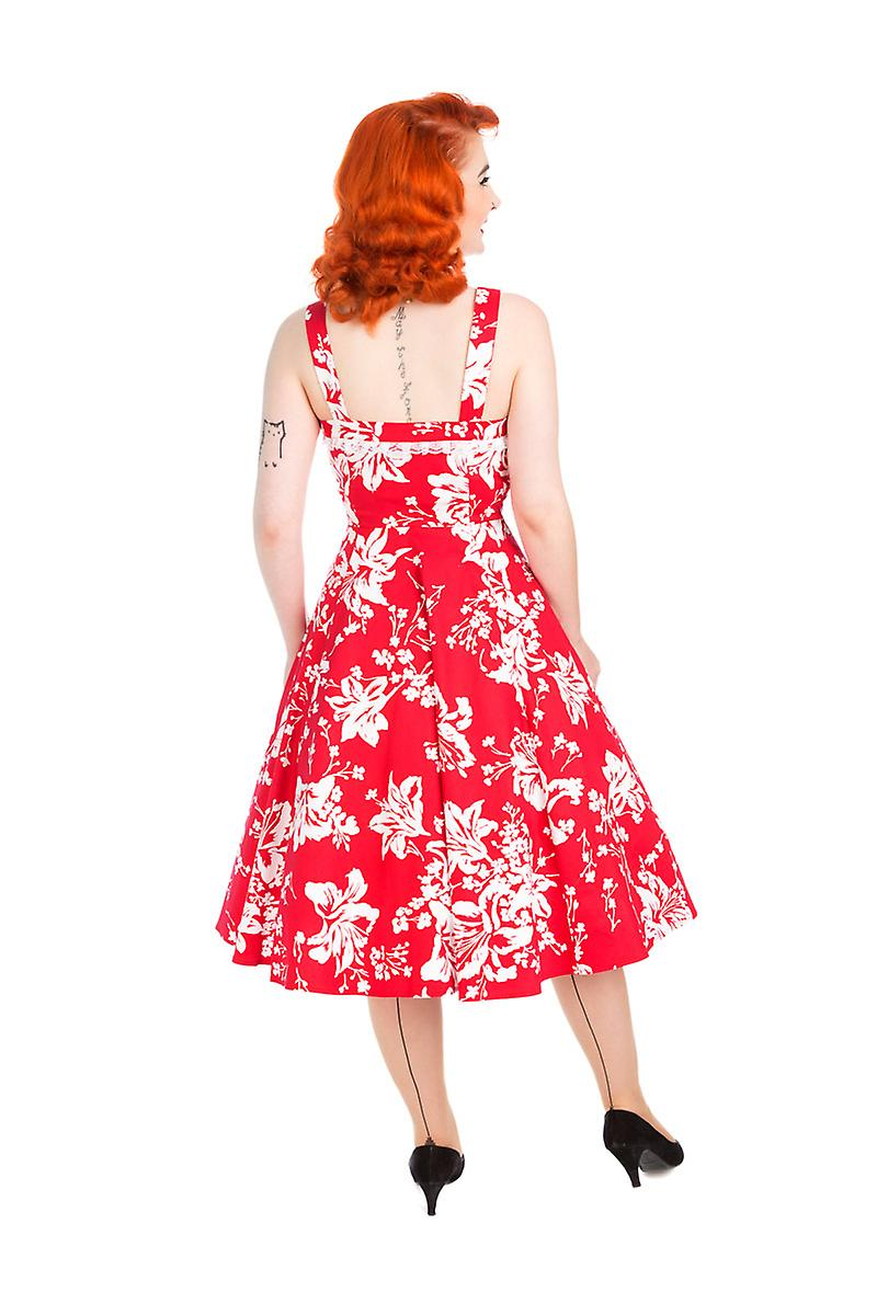 Hearts And Roses Womens White Red Regal Lily Floral Swing Dress Rockabilly