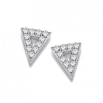 Cavendish French Cute Silver and Cubic Zirconia Triangle Earrings