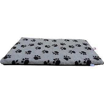 Dog & Co Crate Mat Grey Fleece/Black Paw 48x30