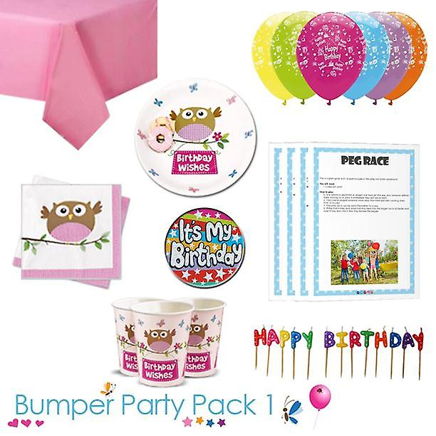 Little Owl Girl Birthday Wishes Party Tableware Bumper Pack 1
