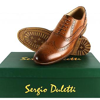 Sergio Duletti Gian Mens Leather Dress Brogue Dress Corrado Shoe Ha13319 Brown UK 6 = EU 40