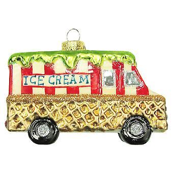 Ice Cream Truck ręcznie świateł wafel stożek Christmas wakacje szkła dekoracyjnego