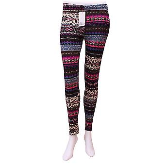 Dark Multicolored Aztec Pattern Warm Legging
