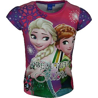 Girls Disney Frozen Elsa & Anna Short Sleeve T-Shirt