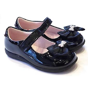 Lelli Kelly Girls Black Patent Leather School Shoes With Changeable Clips | G Fitting | Lelli Kelly Priscilla LK8356