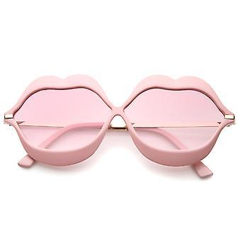 De gran tamaño labio forma marco Metal templos degradado lente novedad gafas de sol 63mm