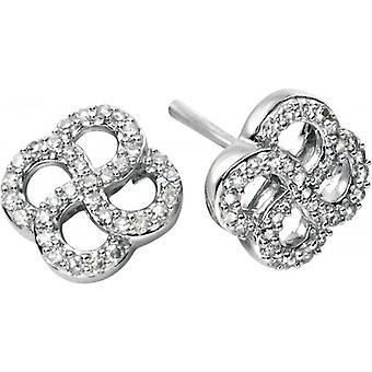 Elements Gold Exquisite 9ct White Gold Diamond Organic Swirl Earrings - Clear/White Gold