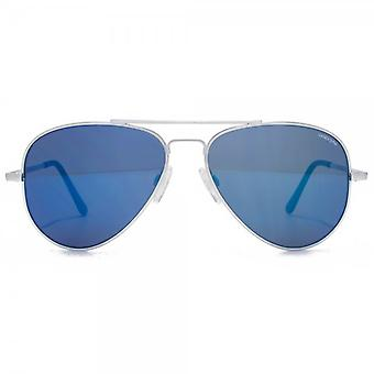 Randolph Engineering Concorde Pilot Sunglasses In Matte Chrome Blue Sky Flash