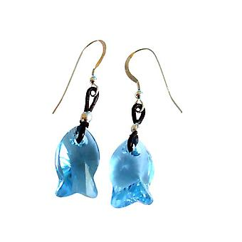 Blue fish SANDY earrings 925 Silver with Crystal elements & leather