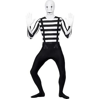 Smiffys Mime Second Skin Black Bum Bag Concealed Fly Under Chin Opening (Costumes)