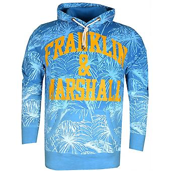 Franklin & Marshall Mf081 Flower Print Atlantic Blue Hoodie