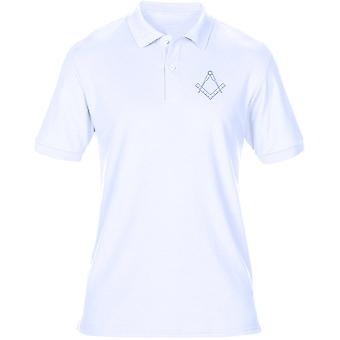 Freemasons Square en kompas geborduurd Logo - Mens poloshirt