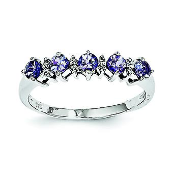 Sterling sølv tanzanit og diamantring - Ring størrelse: 6-8