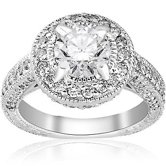 2ct Vintage Diamond Halo Engagement Ring With Milgrain Accent 14k White Gold