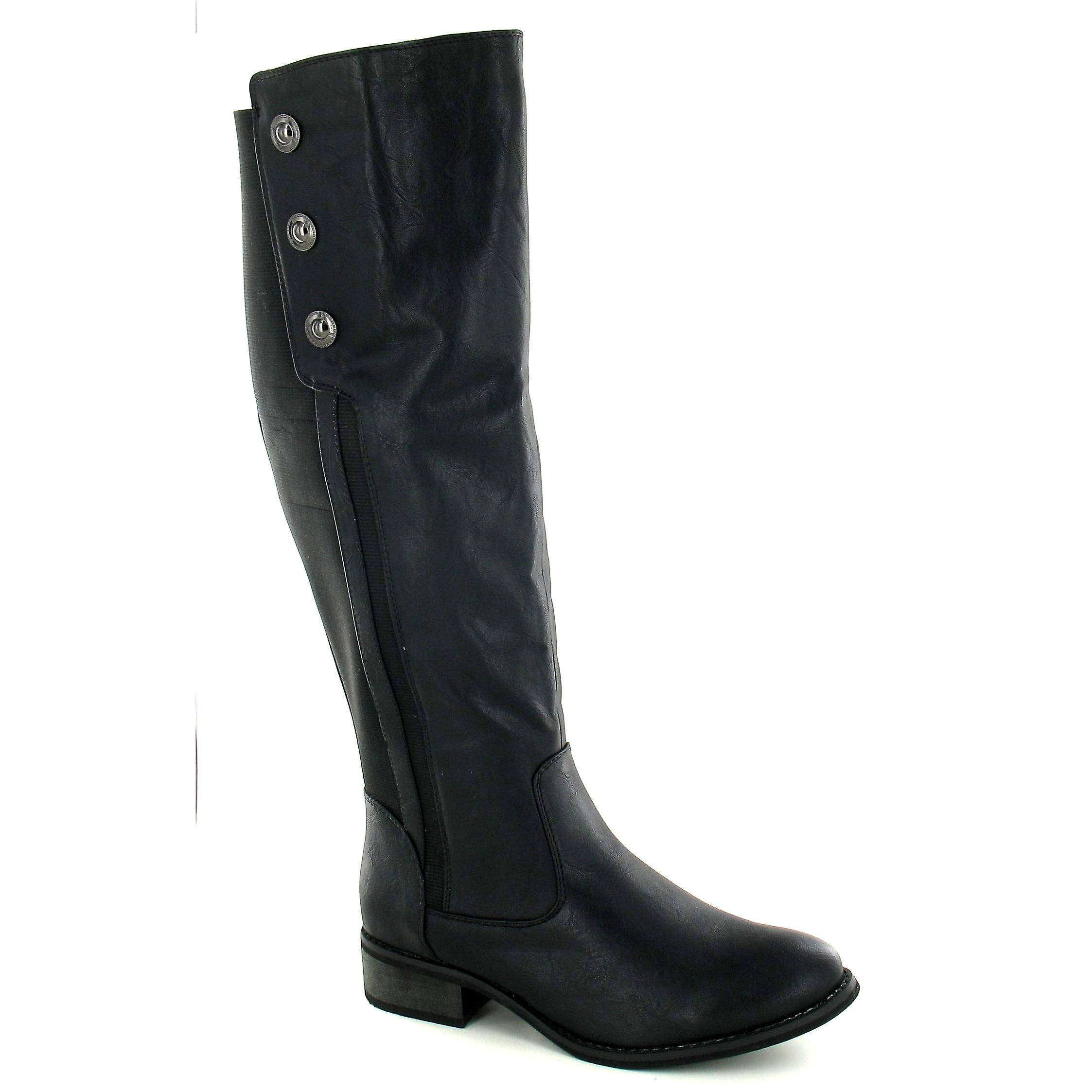 Button On Mid Heel Womens Detail Boots With High Ladies Leg Spot gZwxtIdzqx