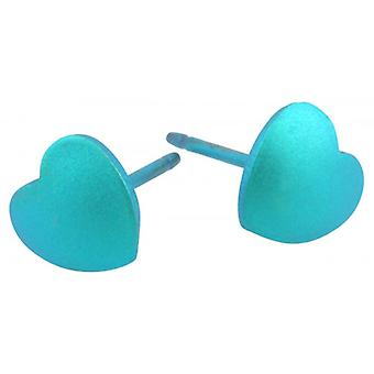 Ti2 Titanium Geometric Heart Stud Earrings - Kingfisher Blue