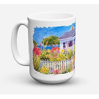 Seaside Beach Cottage diskmaskin säkra mikrovågssäker keramisk kaffe Mugg 15 uns