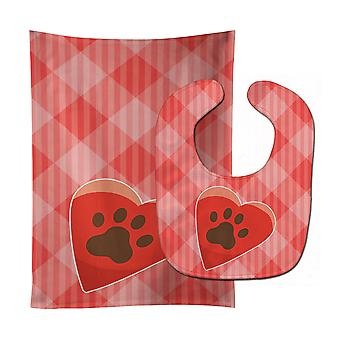 Carolines Treasures  BB7073STBU Puppy Pawprint Heart Baby Bib & Burp Cloth