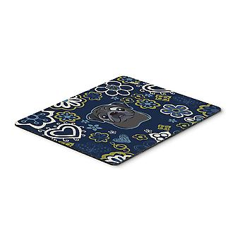 Blue Flowers Black Pug Mouse Pad, Hot Pad or Trivet
