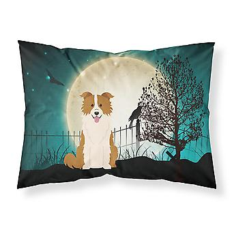 Halloween Scary Border Collie Red White Fabric Standard Pillowcase
